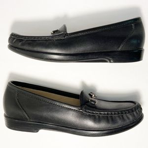 SAS Black Leather Loafers EUC